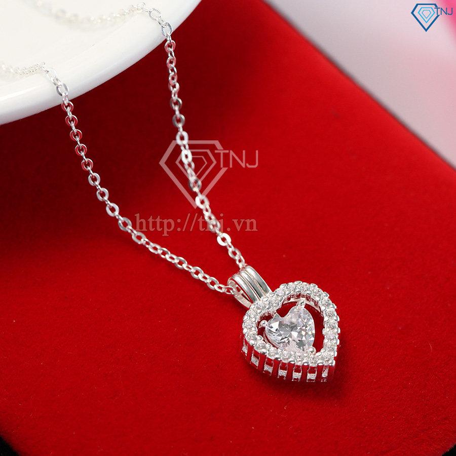 Dây chuyền bạc nữ mặt trái tim đính đá đẹp DCN0356