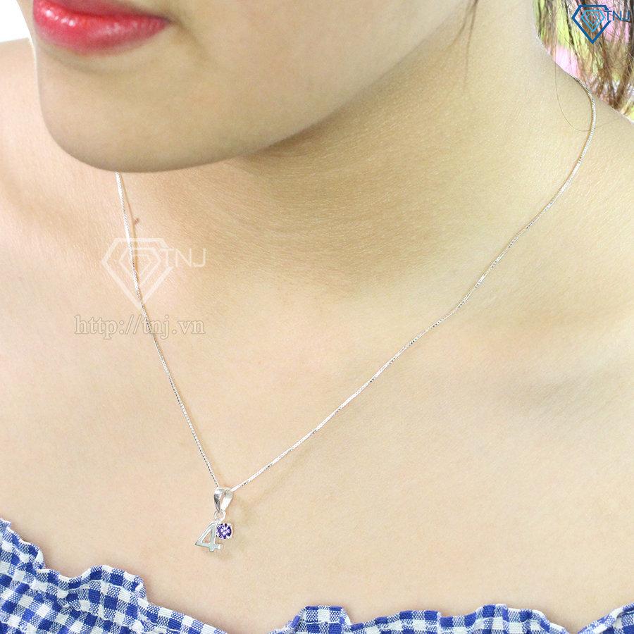 Dây chuyền bạc nữ mặt số 4 đính đá đẹp DCN0370