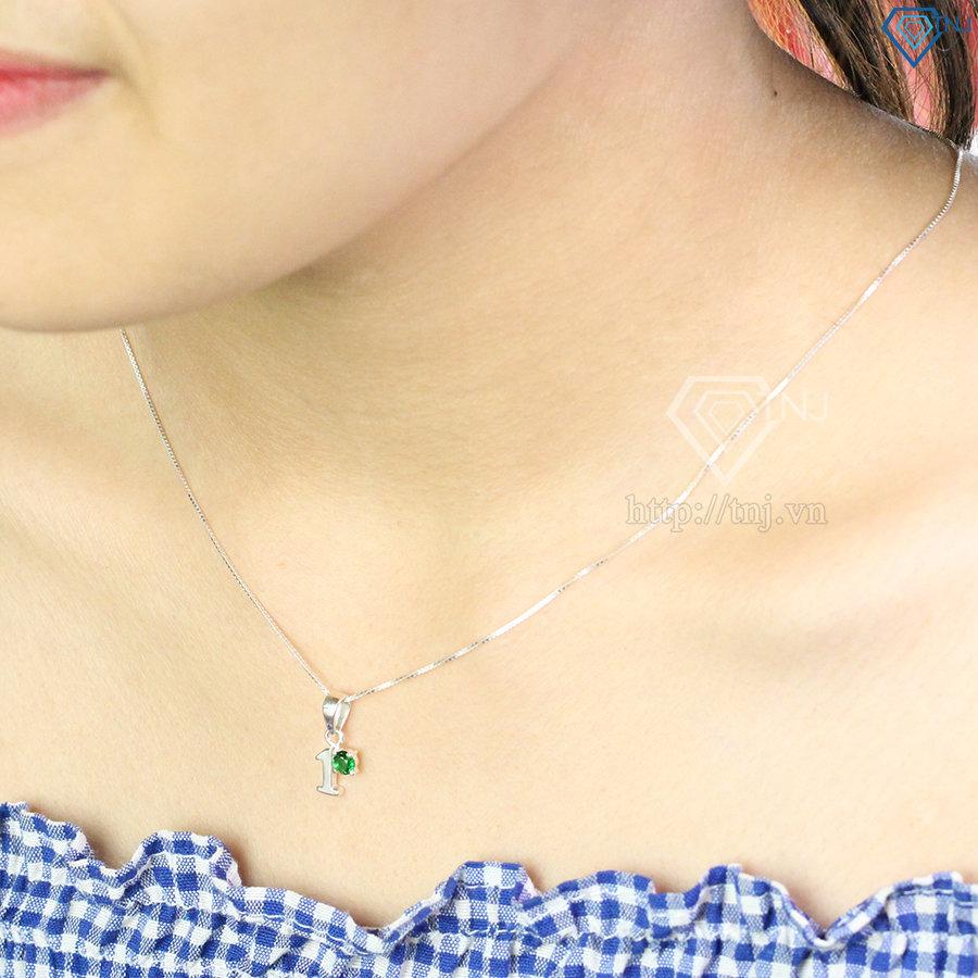 Dây chuyền bạc nữ mặt số 1 đính đá đẹp DCN0371