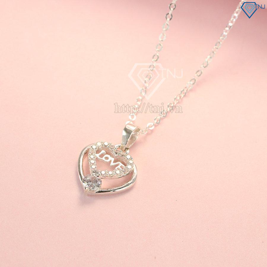 Dây chuyền bạc nữ mặt trái tim chữ Love đẹp DCN0379