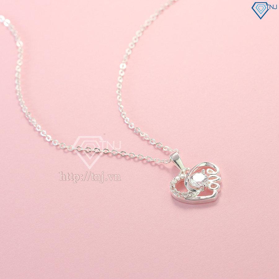 Dây chuyền bạc nữ mặt trái tim chữ Love đính đá đẹp DCN0421