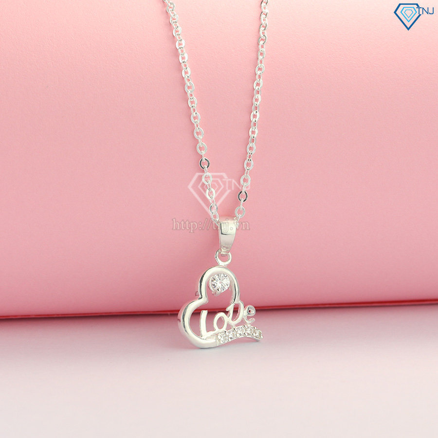 Vòng cổ bạc nữ mặt trái tim chữ Love đẹp DCN0425
