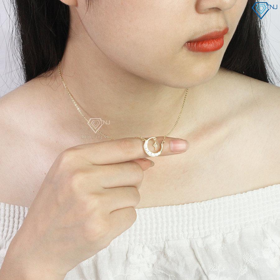 Dây chuyền bạc nữ xi vàng đẹp mặt trăng sao đính đá DCN0432