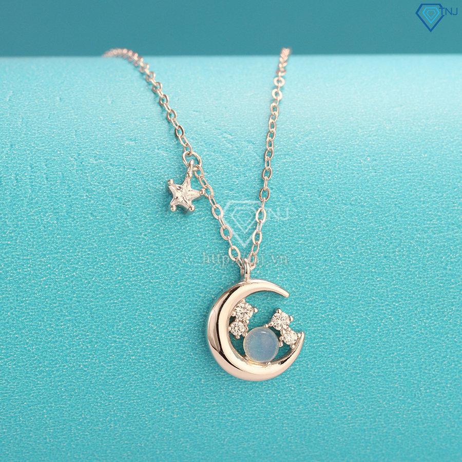 Dây chuyền bạc nữ xi bạch kim mặt trăng sao đẹp DCN0439