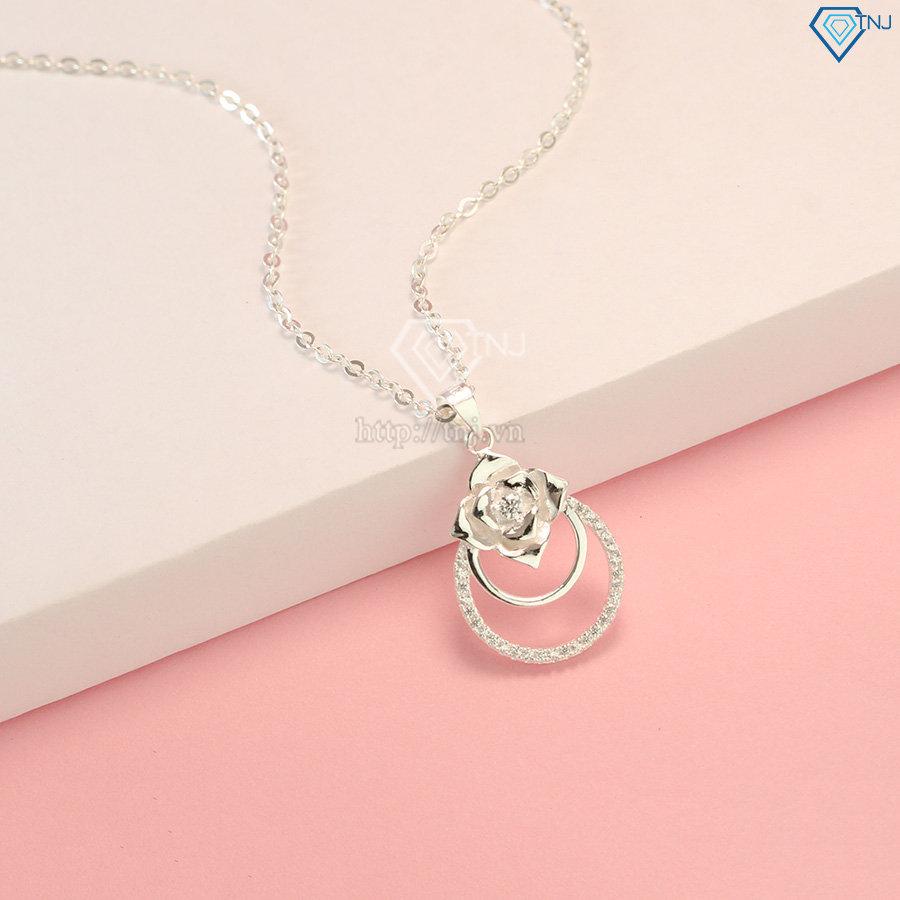Dây chuyền bạc nữ mặt họa tiết bông hồng DCN0440