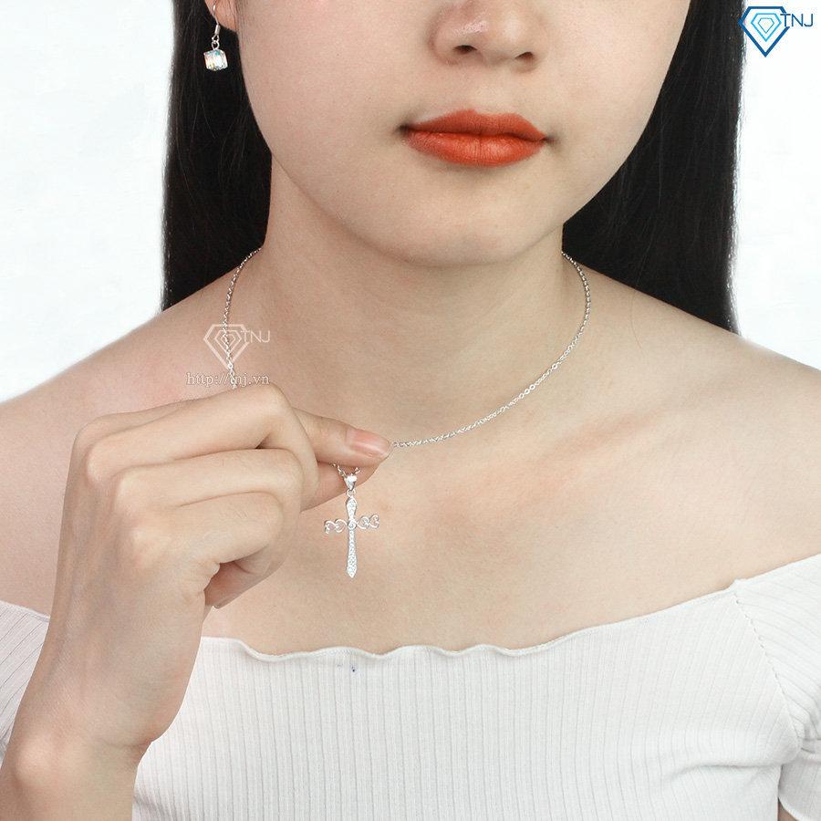 Dây chuyền bạc nữ mặt thánh giá đính đá DCN0441