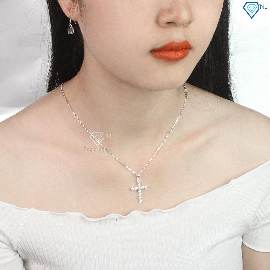 Vòng cổ bạc nữ mặt thánh giá đính đá DCN0442