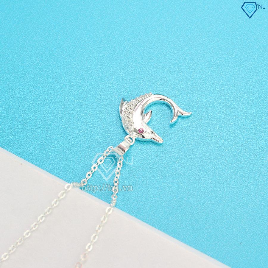 Dây chuyền bạc nữ mặt con cá heo đính đá DCN0443