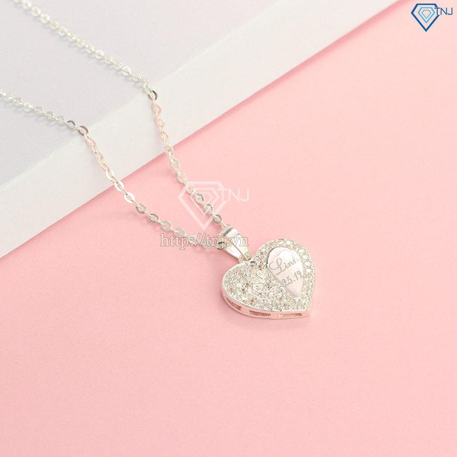 Dây chuyền bạc nữ khắc tên mặt hình trái tim DCN0451