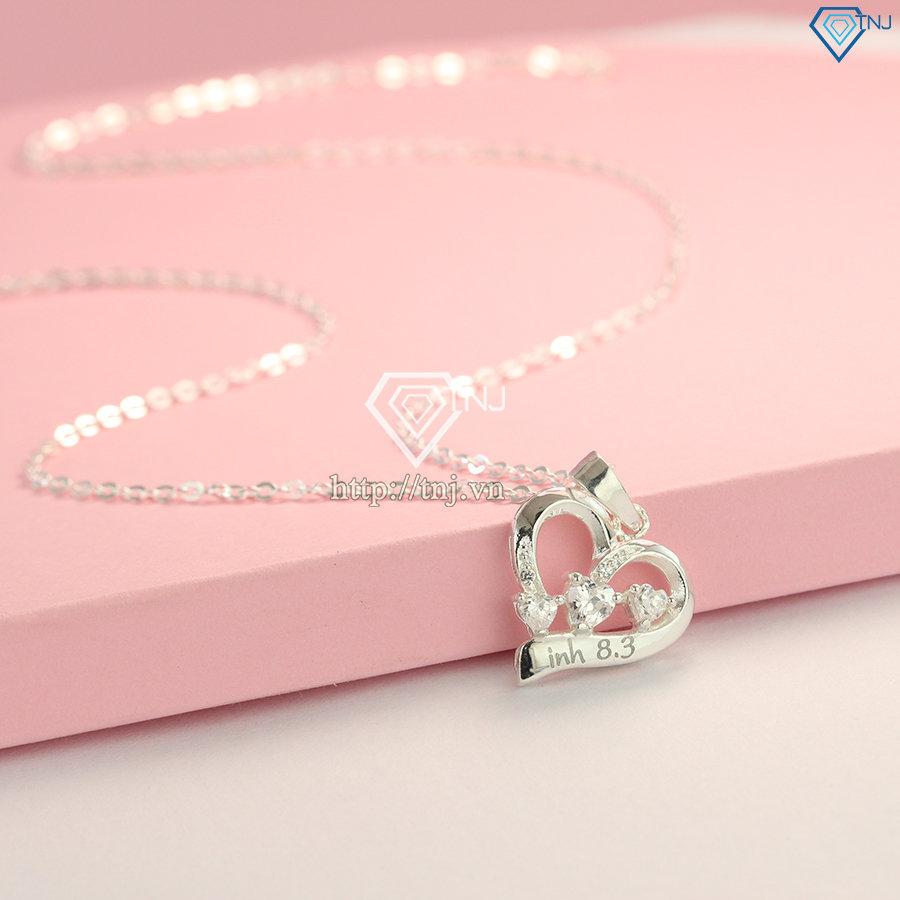Dây chuyền bạc nữ khắc tên hình trái tim DCN0460