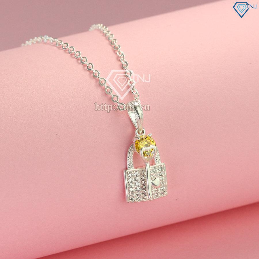 Dây chuyền bạc nữ chìa khóa và ổ khóa DCN0474