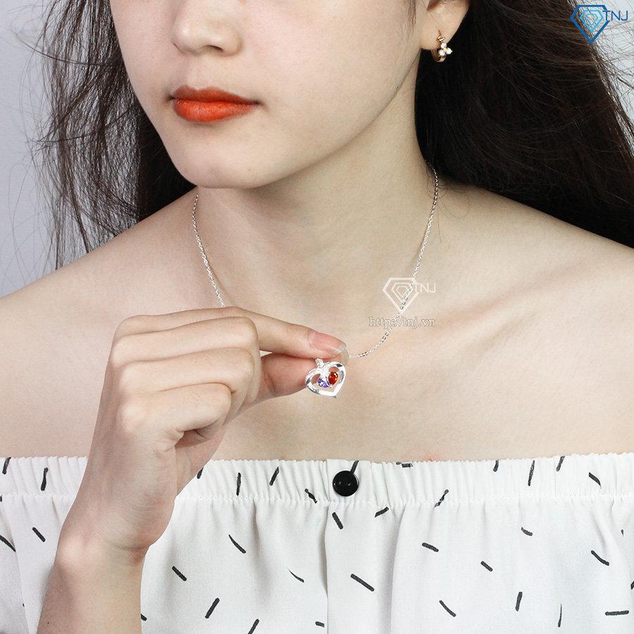 Dây chuyền bạc nữ khắc tên hình trái tim DCN0496