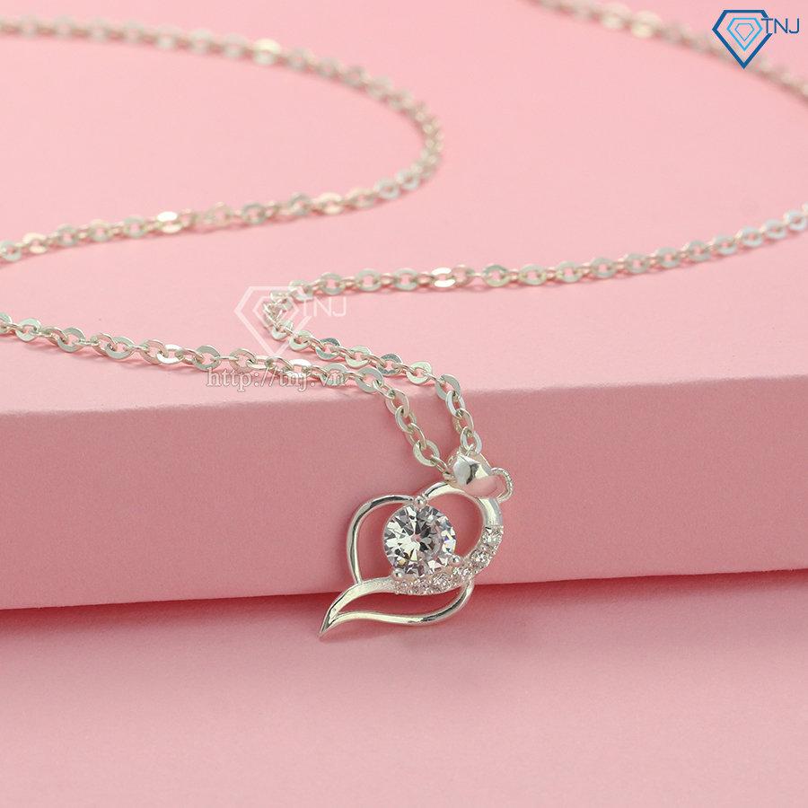 Dây chuyền trái tim đính đá bằng bạc DCN0529