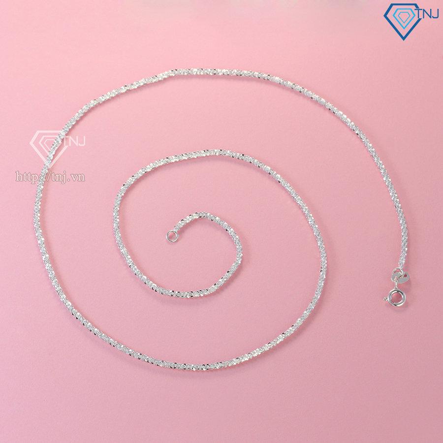 Dây chuyền bạc nữ mặt tròn đính đá DCN0536