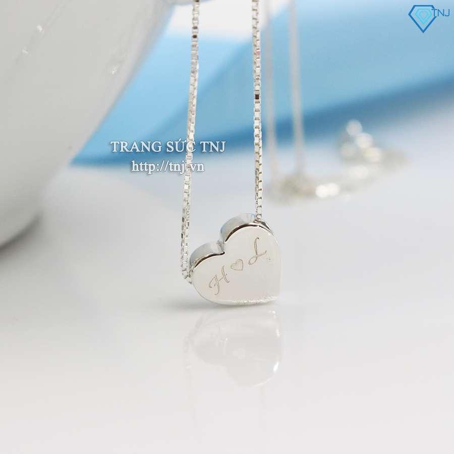dây chuyền bạc nữ mặt trái tim khắc tên dcn0140