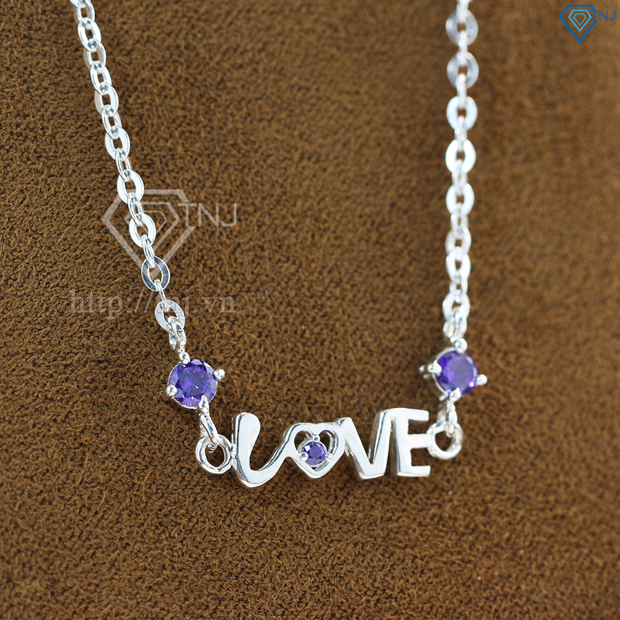 dây chuyền bạc nữ mặt chữ Love DCN0337