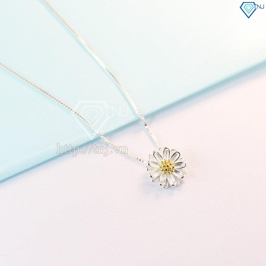 Dây chuyền bạc nữ họa tiêt hoa cúc họa mi DCN0312