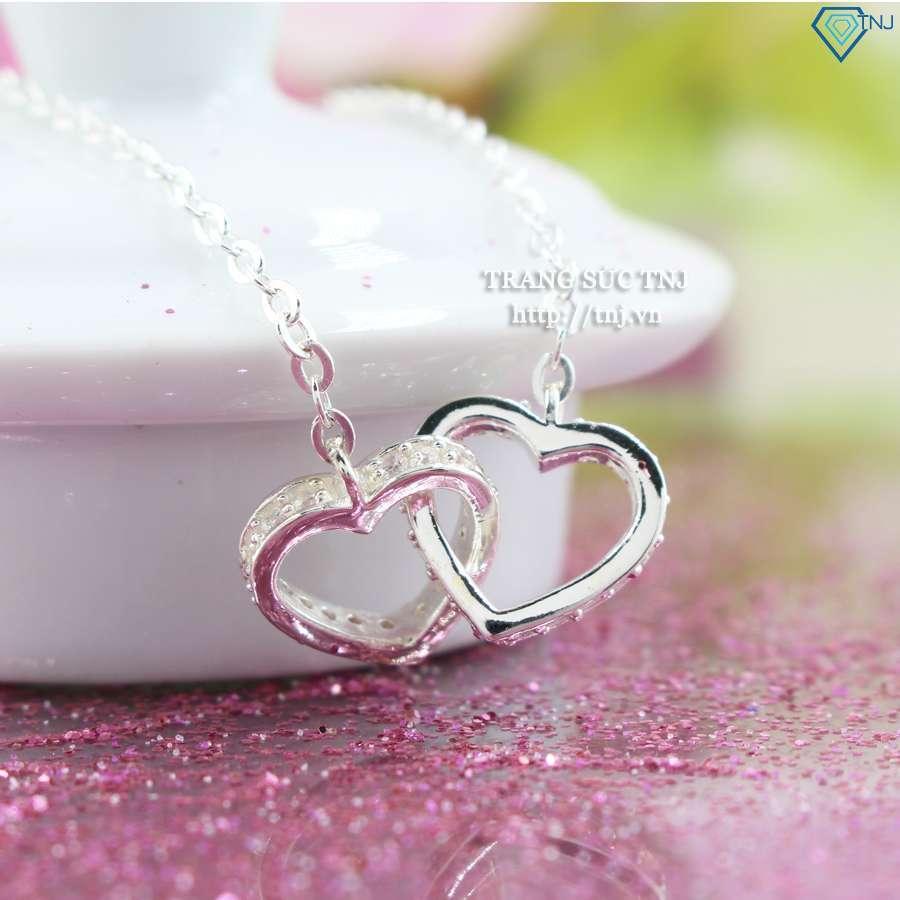 dây chuyền bac nữ trái tim đôi DCN0264