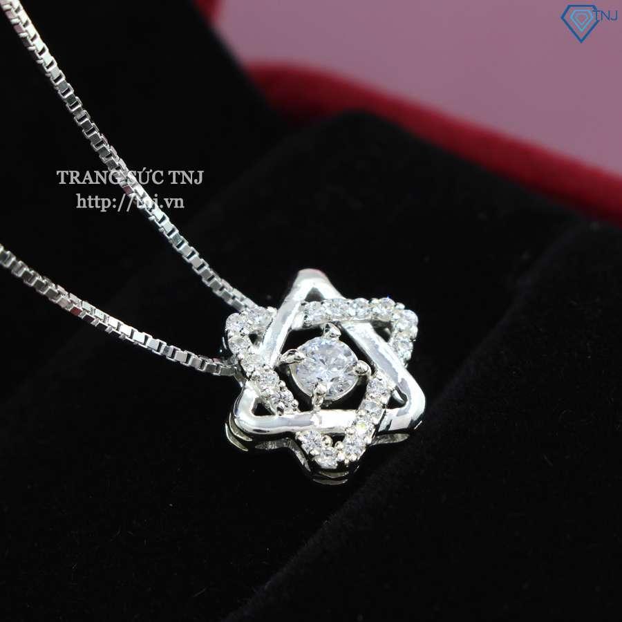 Dây chuyền bạc nữ thiết kế 2 tam giác đan xen đính đá CZ tinh khiết DCN0268