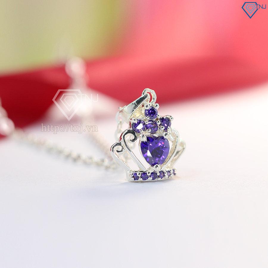 Dây chuyền bạc nữ mặt vương miện đính đá tím DCN0107
