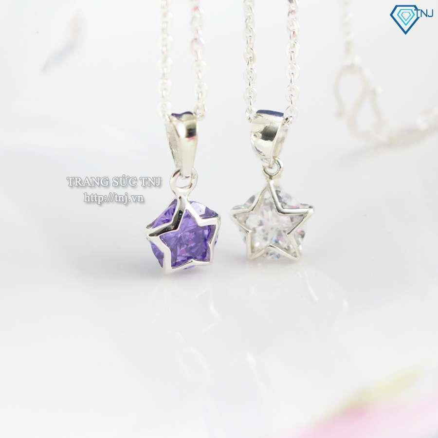 dây chuyền bạc nữ mặt ngôi sao đính đá 0091
