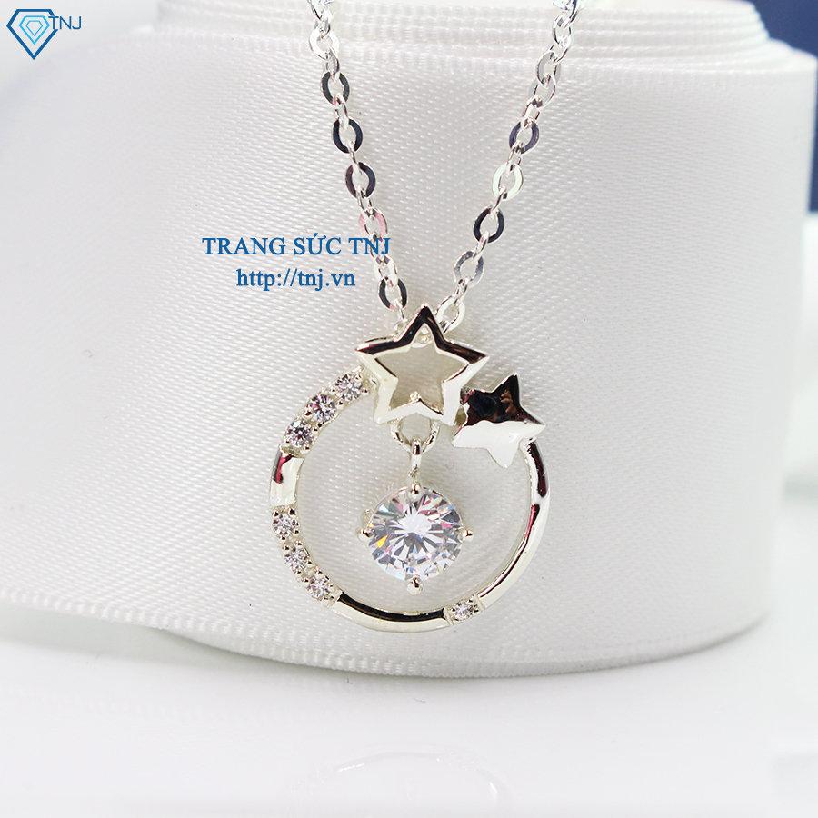 Dây chuyền mặt trăng sao bạc đính đá trắng DCN0249