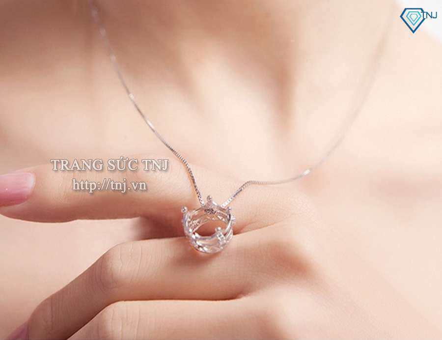 dây chuyền bạc nữ mặt vương miện DCN0095