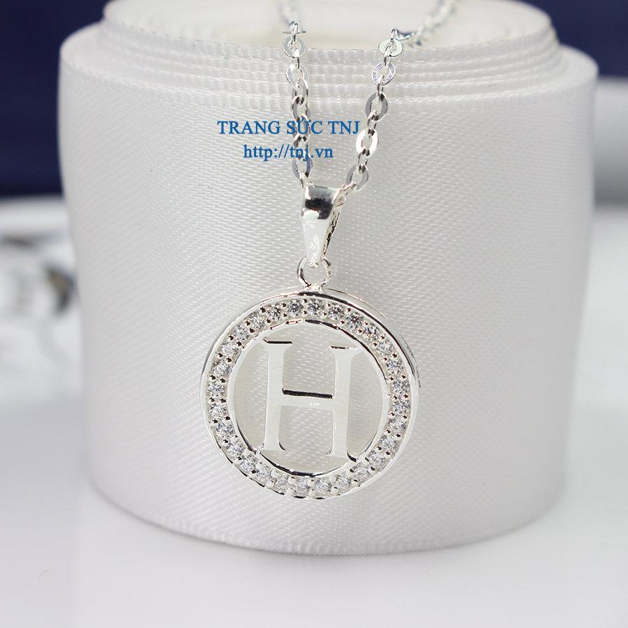Mặt dây chuyền chữ H đính đá đẹp DCN0252