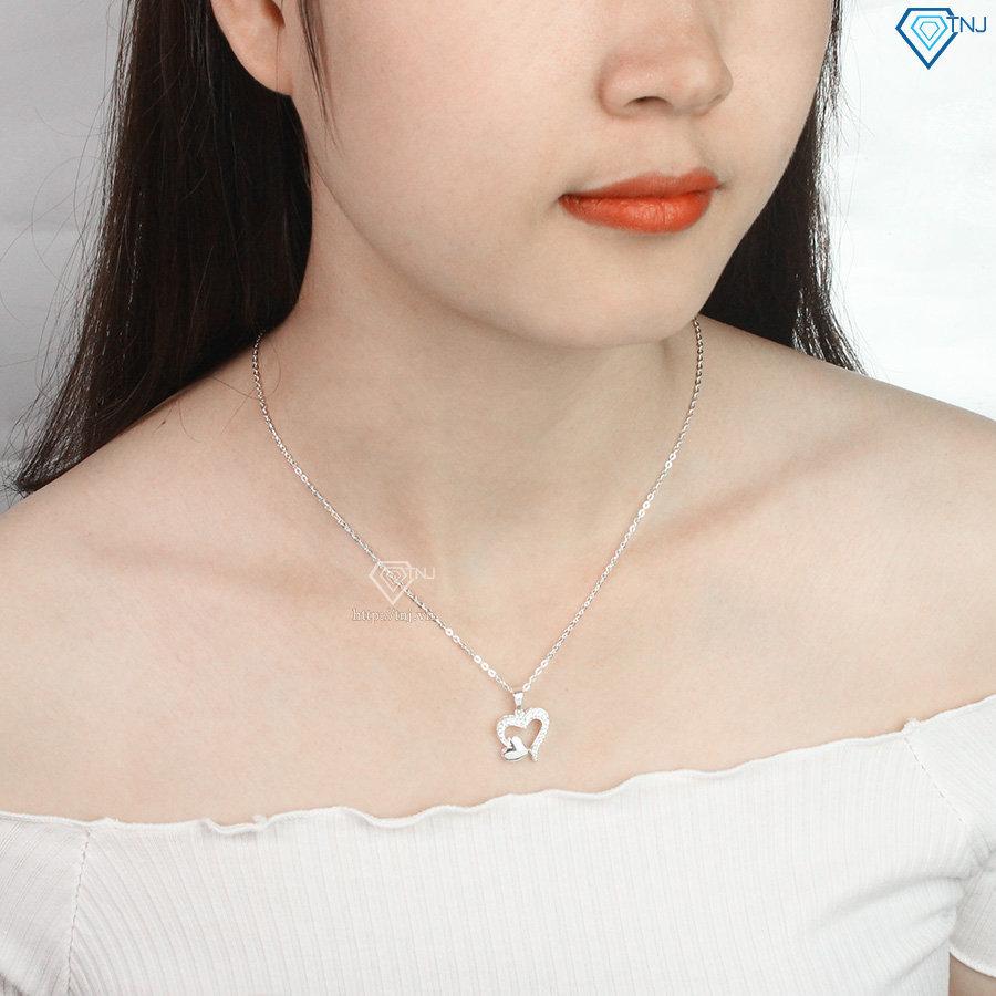 Dây chuyền bạc nữ hình trái tim khắc tên đẹp DCN0450