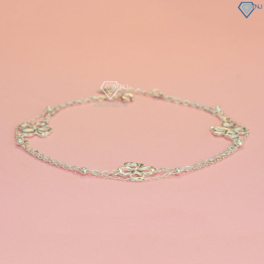 Lắc chân bạc nữ hoa tiết cỏ 4 lá may mắn LCN0018