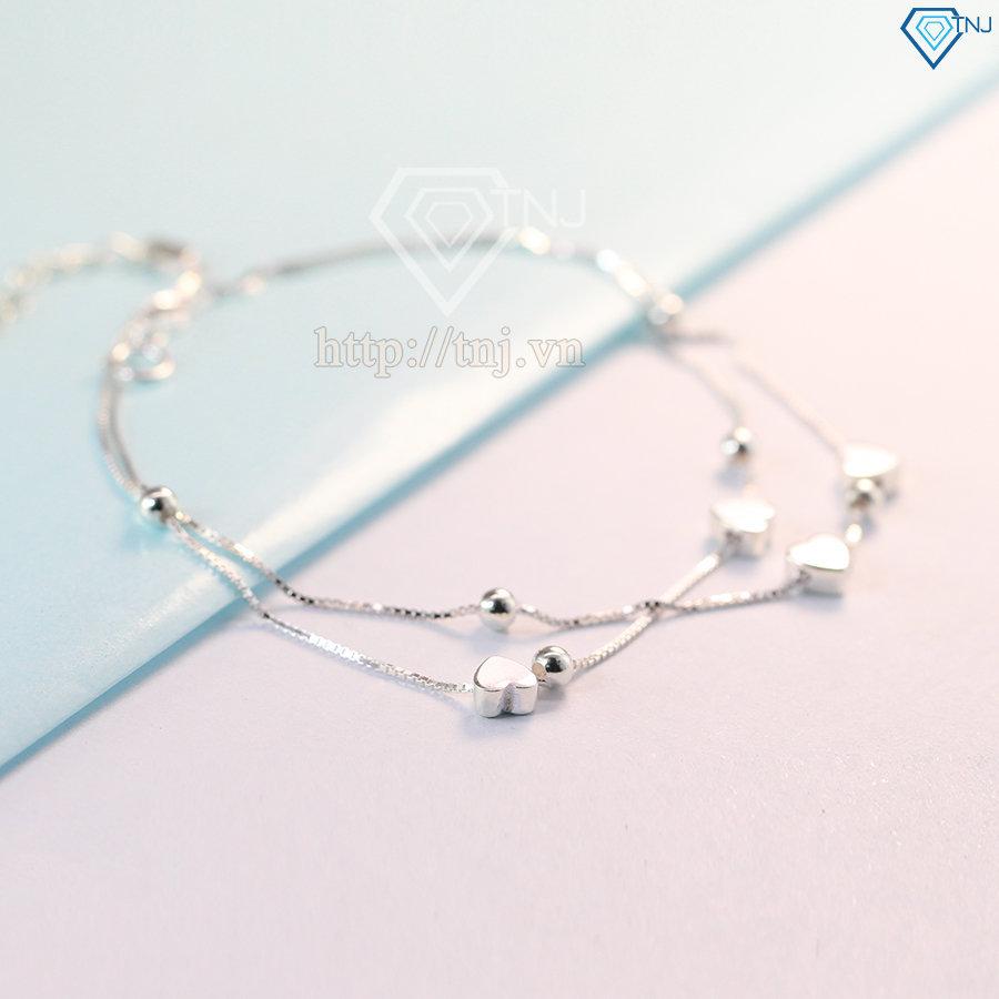 Lắc chân bạc nữ họa tiết Trái Tim nhỏ LCN0030