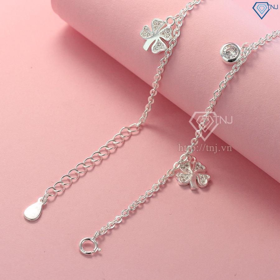 Lắc chân bạc nữ cỏ 4 lá đẹp LCN0044