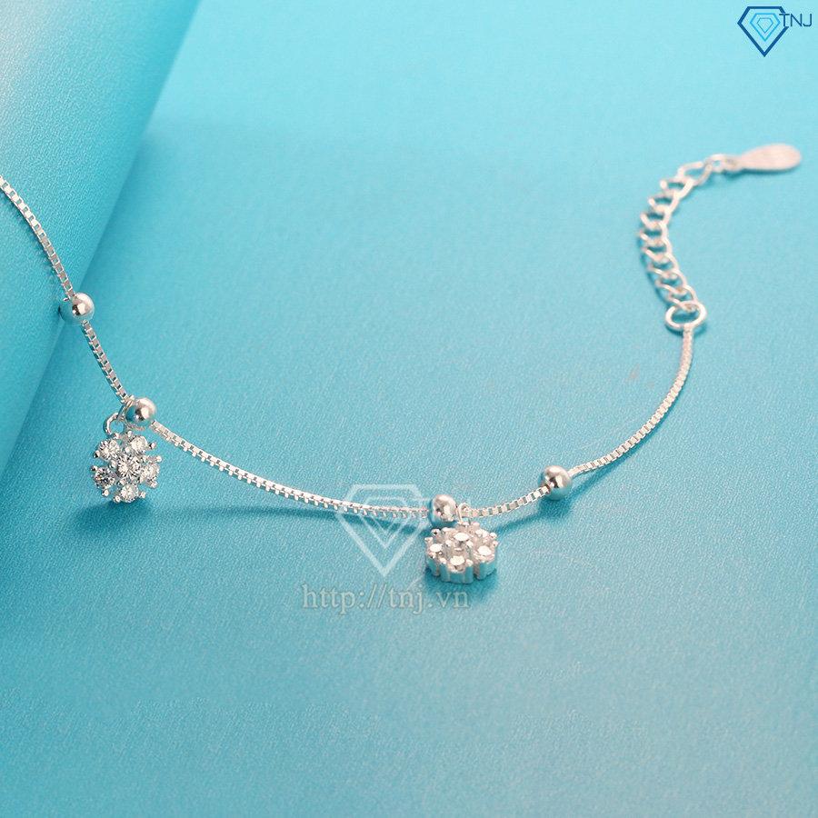 Lắc chân bạc nữ họa tiết bông hoa đính đá đẹp LCN0045