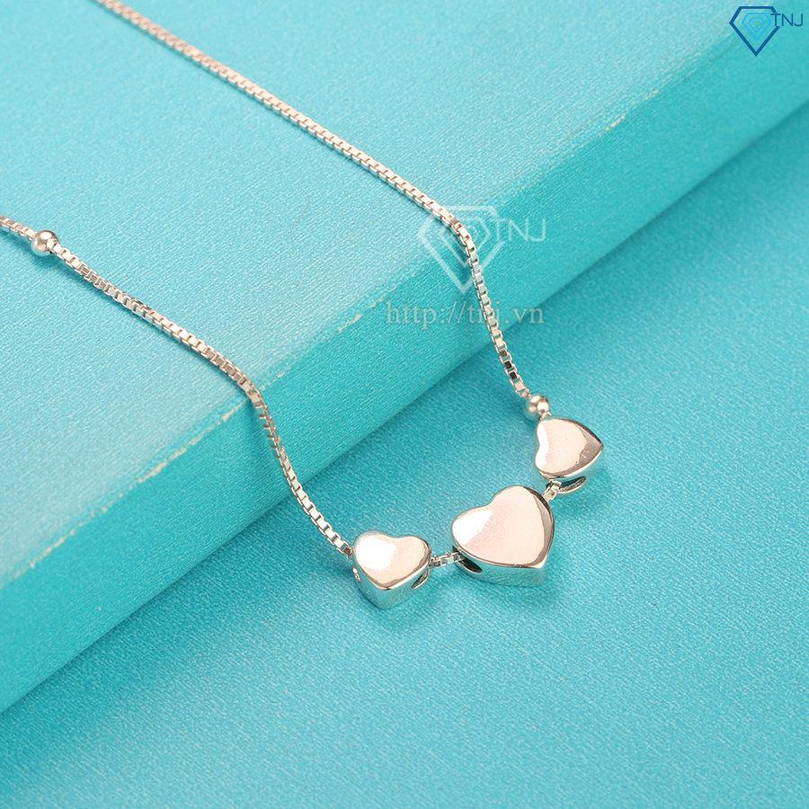 Lắc chân bạc nữ giá rẻ hình trái tim LCN0047