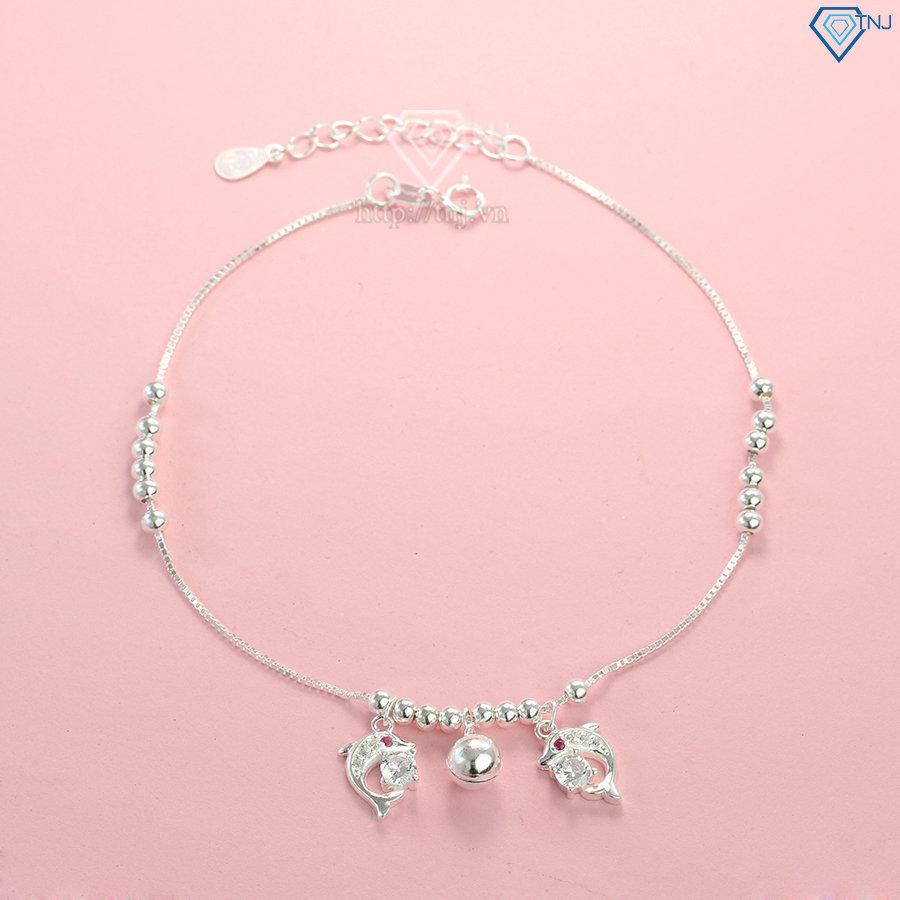 Lắc chân bạc nữ hình cá heo đính đá đẹp LCN0048