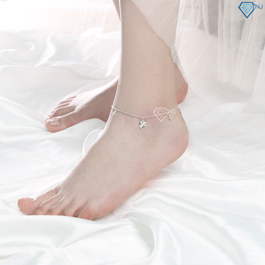 Lắc chân bạc nữ Hà Nội họa tiết cỏ 4 lá LCN0059