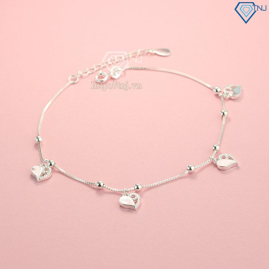 Lắc chân bạc nữ hình trái tim LCN0066