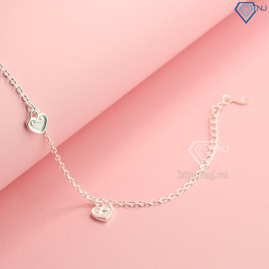 Lắc chân bạc nữ hình trái tim LCN0069