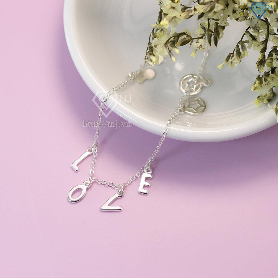 lắc chân bạc nữ đẹp họa tiết chữ Love LCN0037