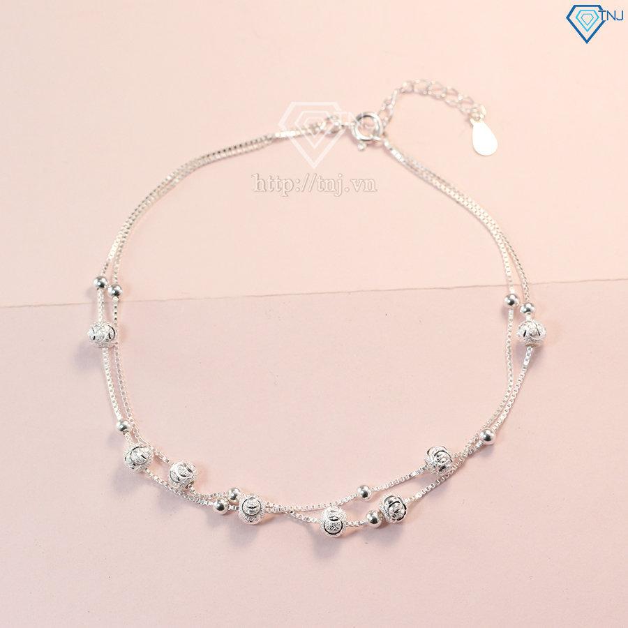 lắc chân bạc nữ đẹp họa tiết bi bạc LCN0042