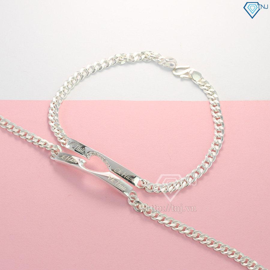 Vòng tay đôi bạc vòng tay cặp bạc trái tim khắc tên theo yêu cầu LTD0005