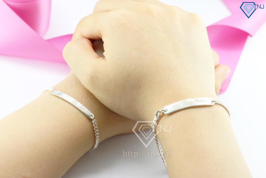 lắc tay bạc đôi khắc tên theo yêu cầu LTD0003