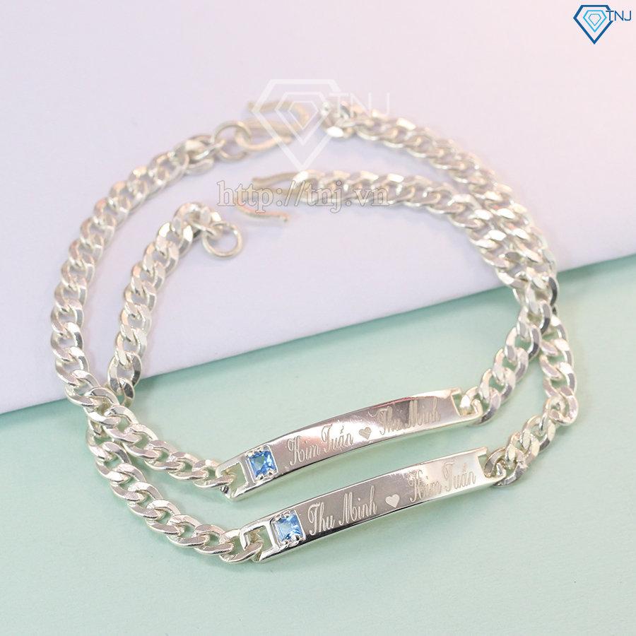 lắc tay bạc đôi khắc tên theo yêu cầu LTD0004