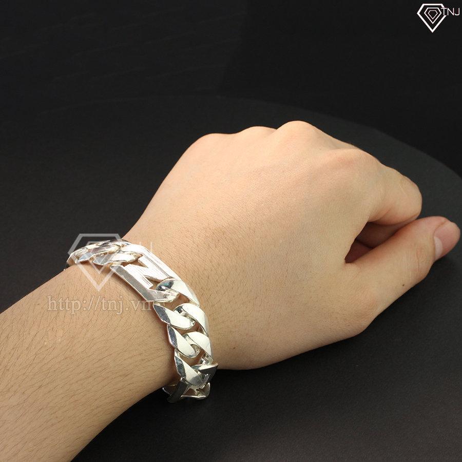 Lắc tay bạc nam 1 cây họa tiết chữ N LTA0004