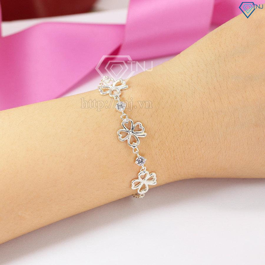 Lắc tay bạc nữ cỏ 4 lá đẹp LTN0070
