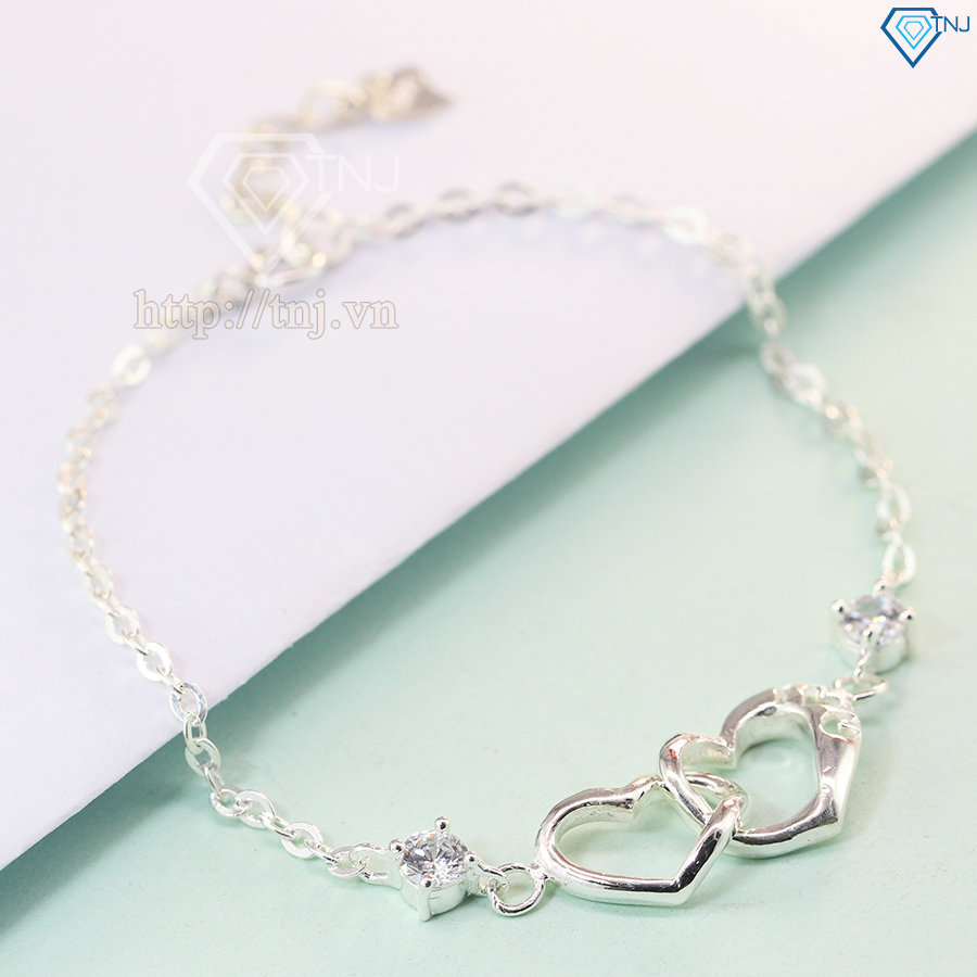 Lắc tay bạc nữ trái tim đôi đính đá trắng LTN0081