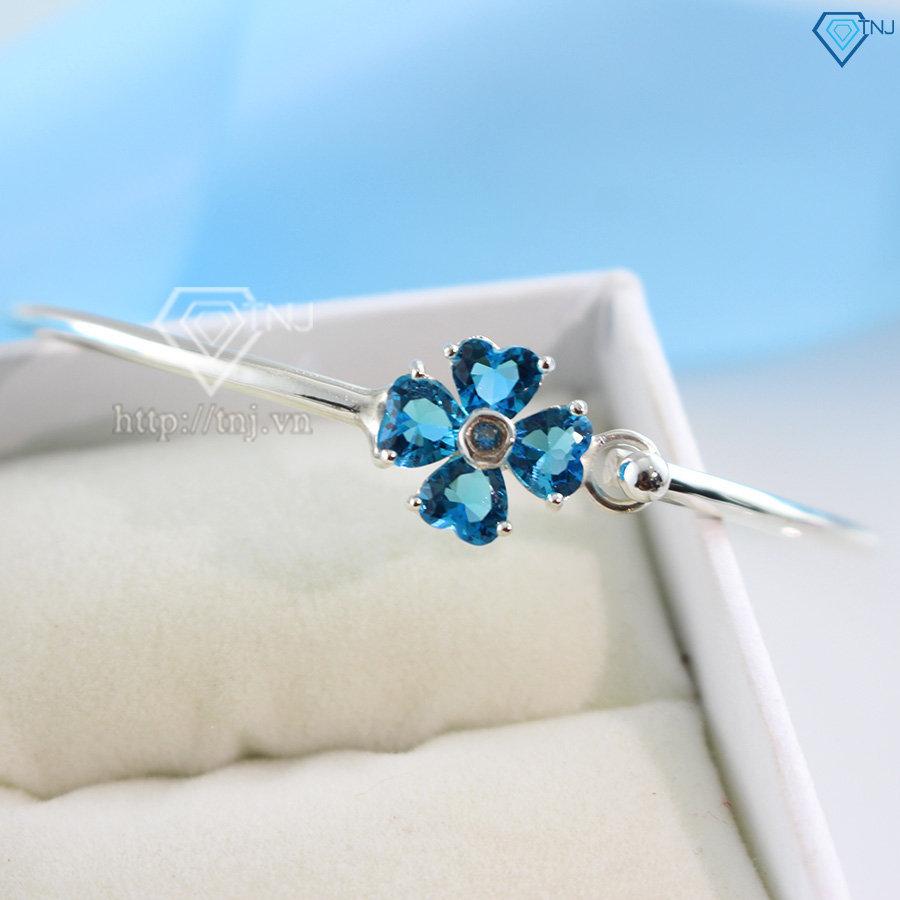 Lắc tay bạc nữ dạng kiềng hình cỏ 4 lá xanh dương LTN0083