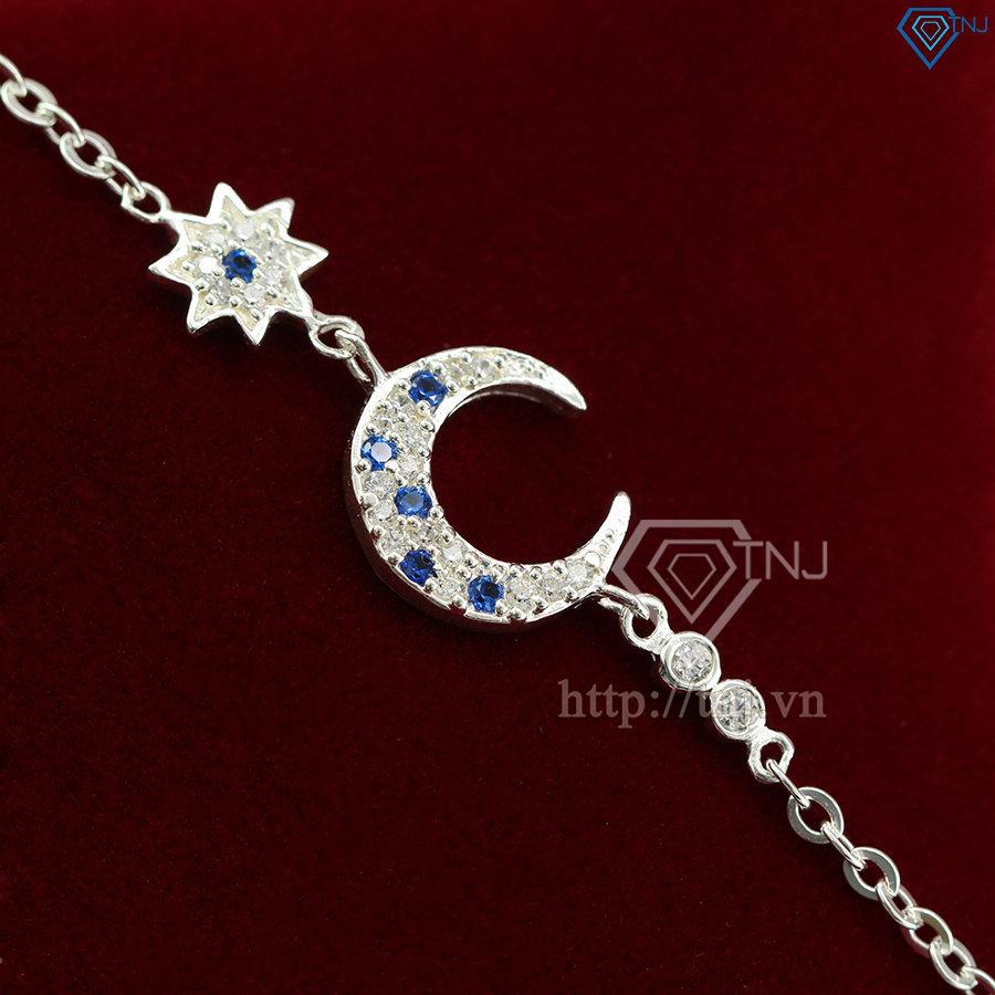 Lắc tay bạc nữ hình trăng sao đính đá LTN0084