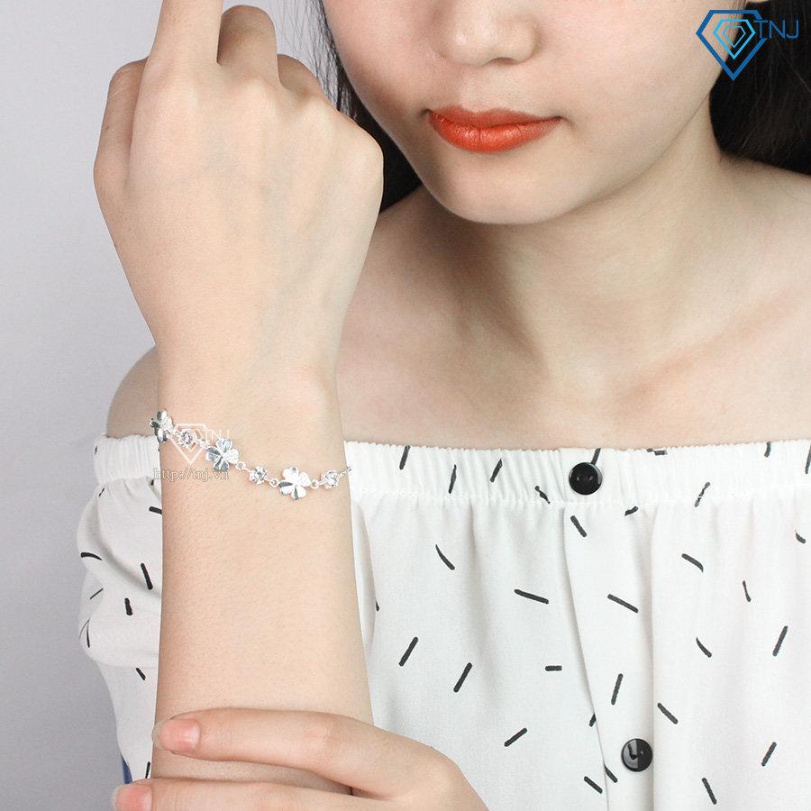 Lắc tay bạc nữ cỏ 4 lá may mắn LTN0092