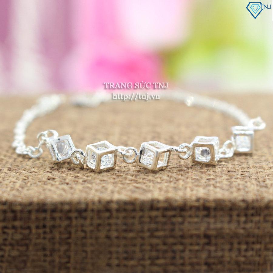 Lắc tay bạc nữ hình lập phương đính đá trắng LTN0094
